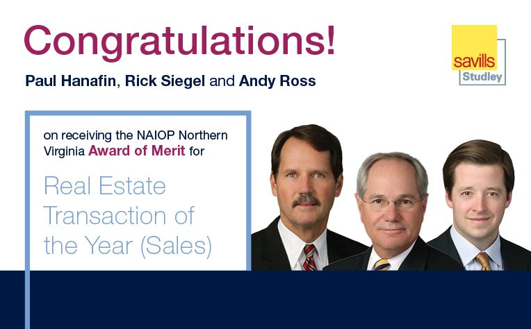 Savills Studley Earns NAIOP Northern Va., Transaction of the Year Award